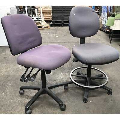 Two Fabric Drafting Chairs