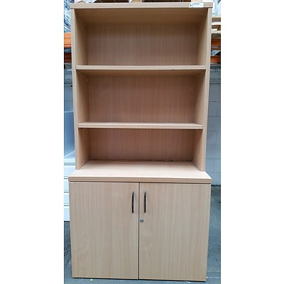 Beech Laminate Storage Cabinet with Credenza