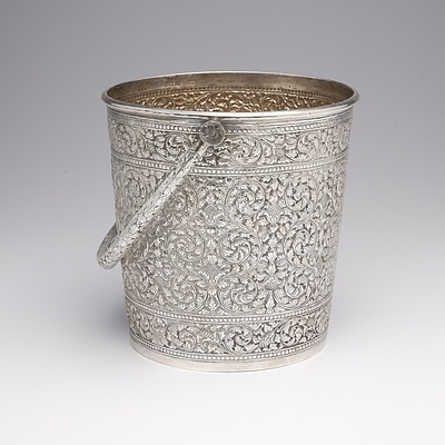 Southeast Asian 900 Silver Ice Bucket with Repousse and Chased Decoration, 577g