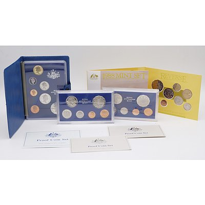 Two 1981 Proof Coin Sets, 1985 Proof Coin Set and 1988 Mint Set
