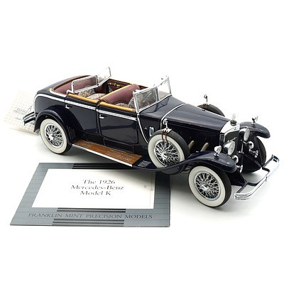 Franklin Mint 1:24 Diecast 1926 Mercedes Benz Model K with COA