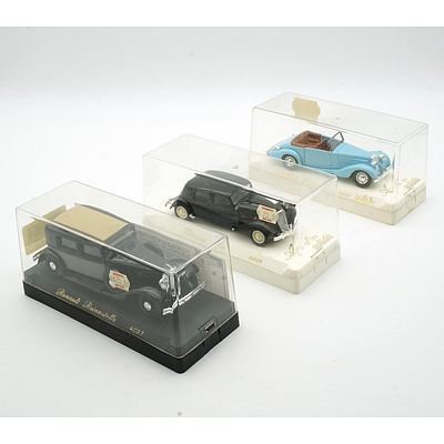 Three Cased Age D'or Solido Models, Including Citroen 15 Cv, Talbot T23 and Renault Reinastella