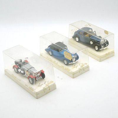 Three Cased Age D'or Solido Models, Including Rolls Royce Coupe, Delahaye 135M and Mercedes sskl