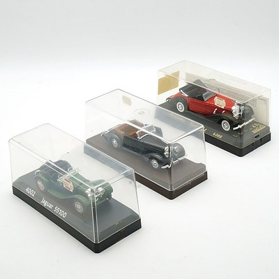 Three Cased Age D'or Solido Models, Mercedes Cabriolet, Jaguar SS100 and Talbot T23 1937