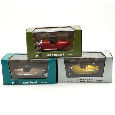 Three Cased Brumm Models, Including Morgan Super Sport 1933, Dartmouth 1929 and Sanford 1922
