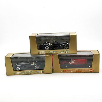 Three Cased Brumm Models, Alfa Romeo 1938 SC 2900, Mefistofele Eldridge 320 HP 1923 and Alfa Romeo 1938 SC 2900