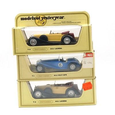 Boxed Matchbox Models of Yesteryear 1938 Lagonda, 1934 Riley MPH and 1938 Lagonda