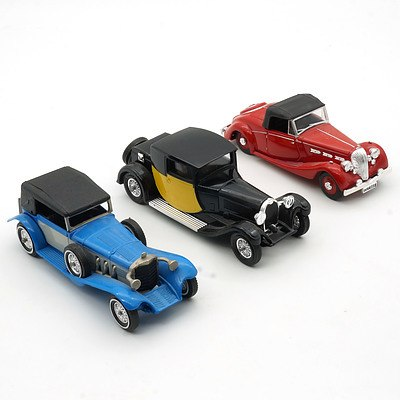 Two Matchbox Models of Yesteryear and a Matchbox Dinky, Including 1928 Bugatti Type 44, 1939 Triumph Dolomite and 1928 Mercedes Benz 'SS'