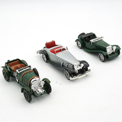 Three Matchbox Models of Yesteryear, Including 1938 Jaguar SS100, 1930 Bentley and 1957 Mercedes Benz 540K