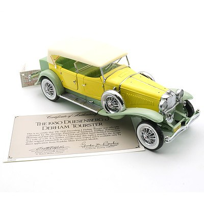Franklin Mint 1:24 Diecast 1930 Duesenber J Derham Tourster with COA