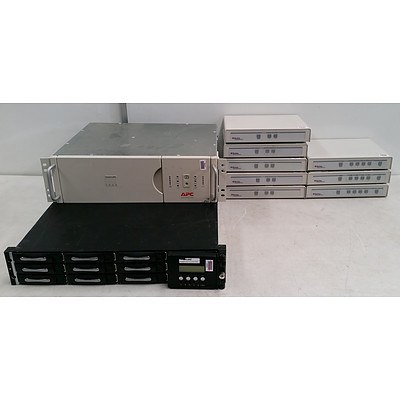 Lot of: 8 Compu Switches,1 Smart Ups 1400 and 1 HDD Array