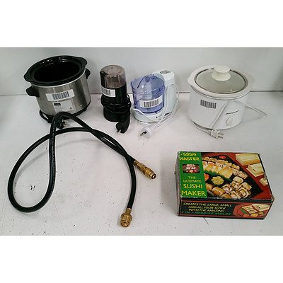 Assorted Kitchenware Including: 2x 1.5L Slowcookers, MultiGrinder, MiniChopper, Sushi Master Sushi Making Tools and 6mm LPG Hose.