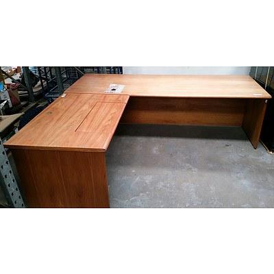 Large Wooden L Shaped Office Desk