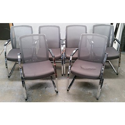 6 Dauphin Grey Fabric Executive Chairs