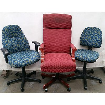 Two Blue Stem Fabric Covered Office Chairs, an Executive Fabric Covered Office Chair and an Office Chair