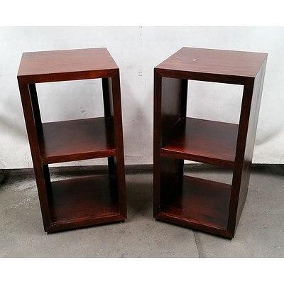 Pair of Dark Timber Bookshelves