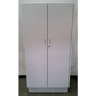 Large White Melamine 2 Door Storage Cabinet