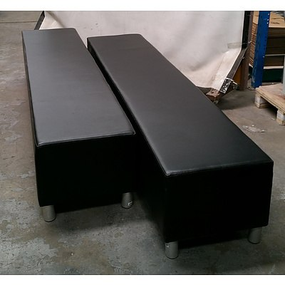 Two Black Leather Bench Seats