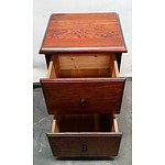 Dark Brown Timber Nightstand with Drawers