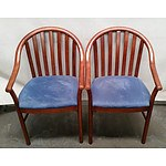 2 Uneke Blue Timber Dining Chairs