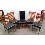 5 Wooden Framed Chairs with Padded Seats
