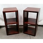 Pair of Dark Timber Bookshelves