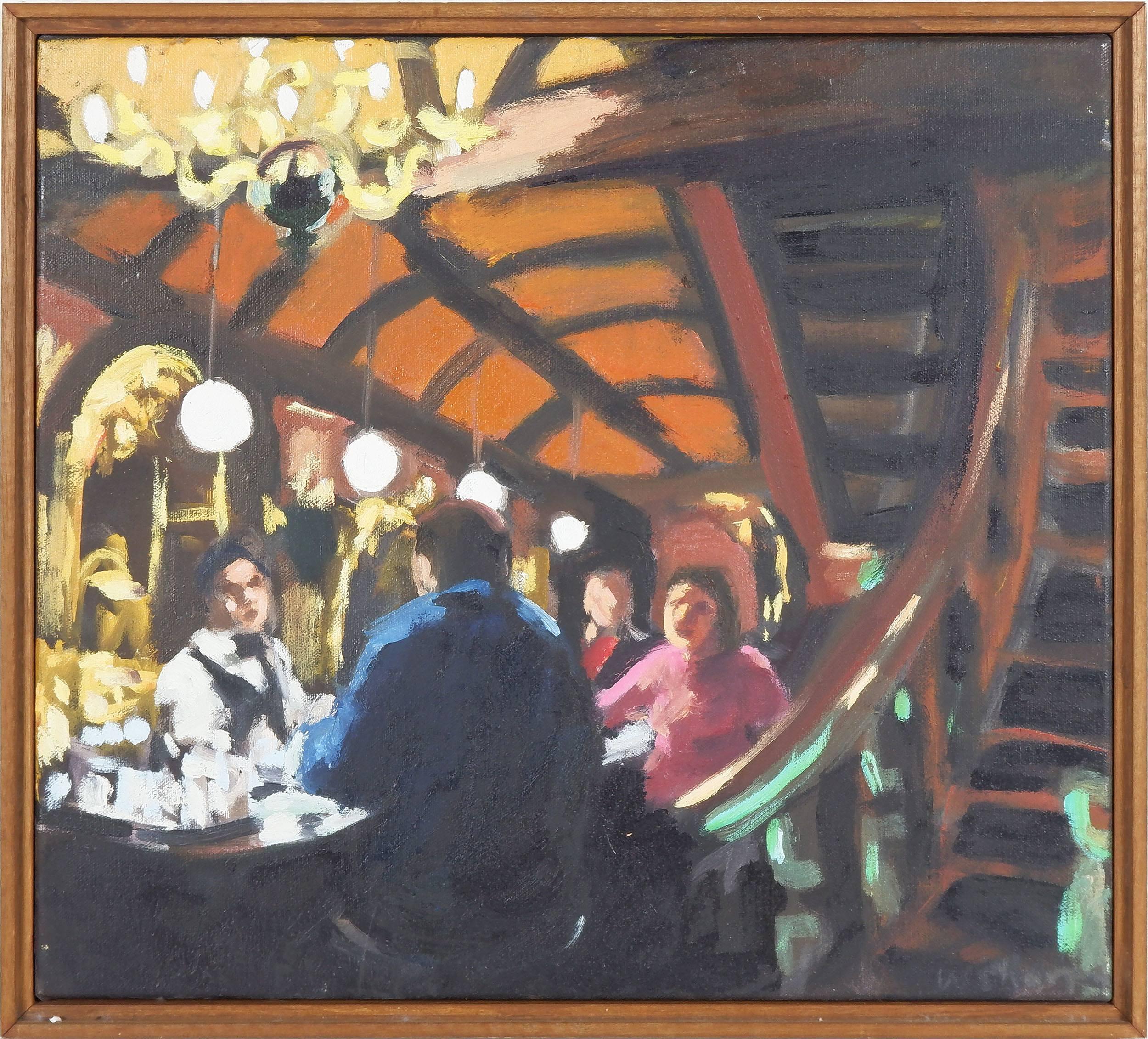 'Wendy Sharpe (1960-) Spanish Bar, Oil on Canvas'