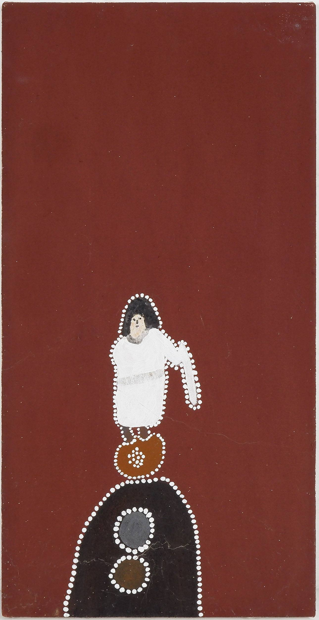 'Mabel Juli (c.1933-) Marranyji and Jiyirriny, Ochre on Canvas'