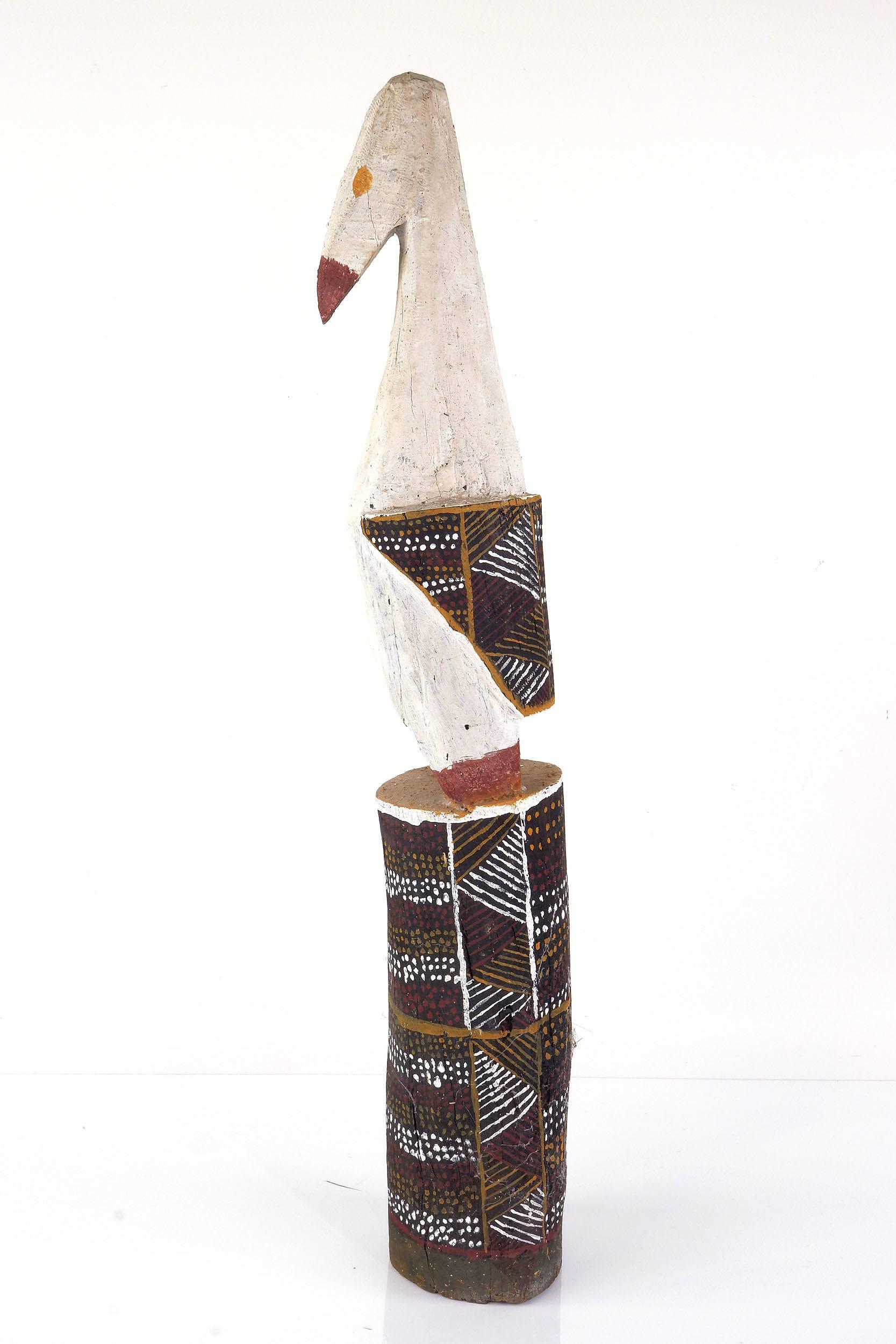 'Tiwi Islands, Bird, Carved Ironwood and Ochre'