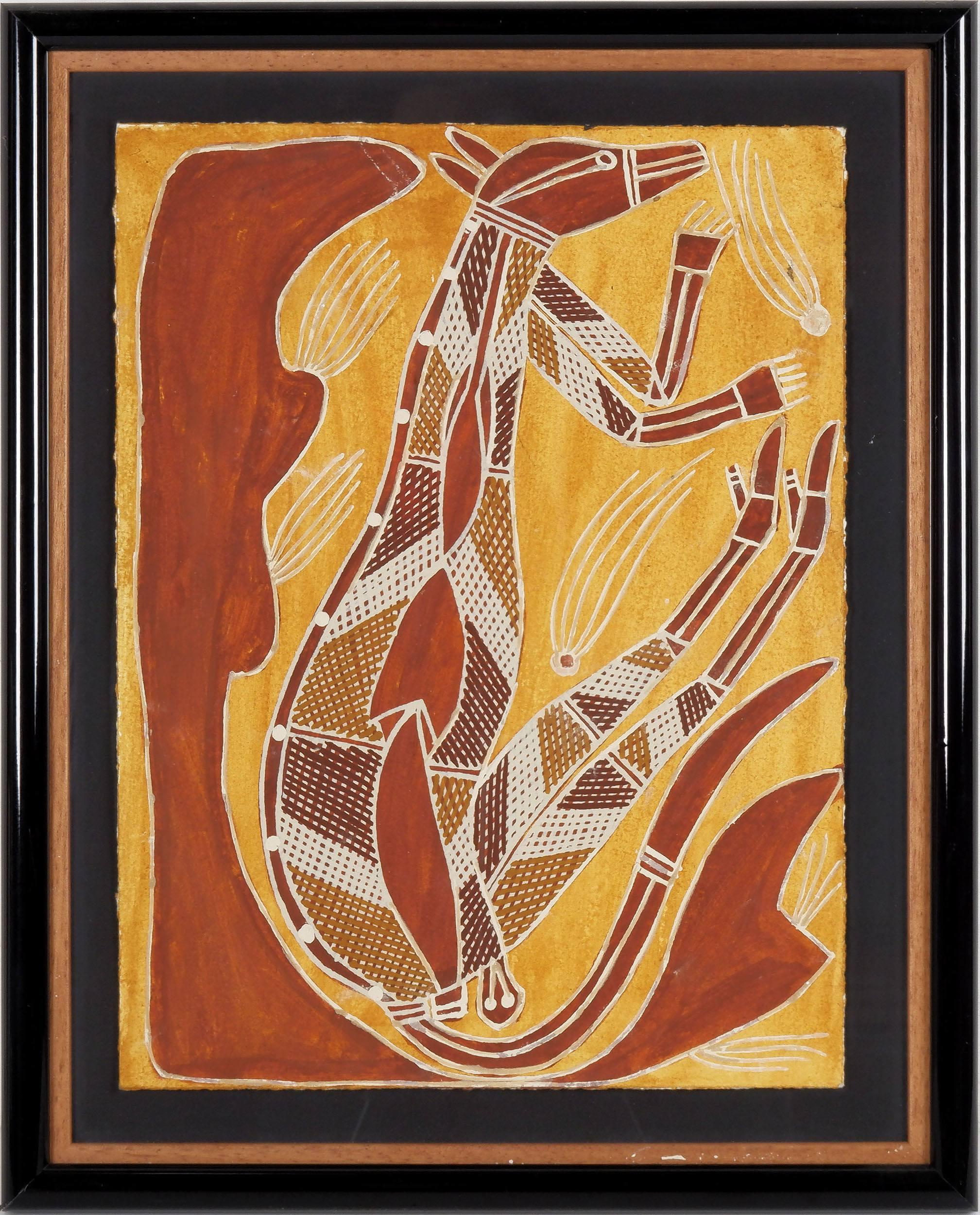 'Djawida Nadjongorle (c.1943-2008) Rock Wallaby, Acrylic and Ochre on Paper'
