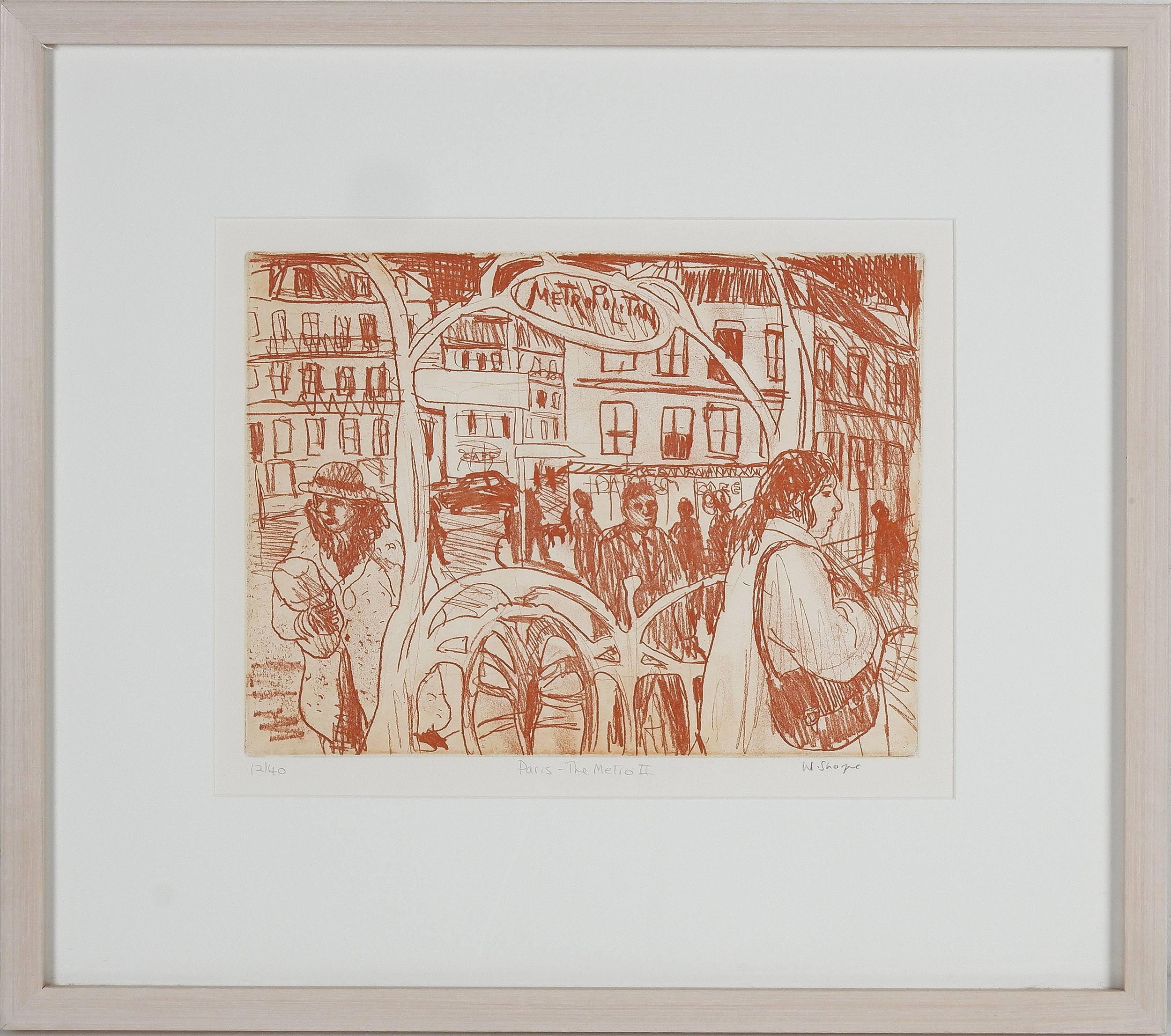 'Wendy Sharpe (1960-) Paris - Metro II, Sepia Etching Edition 12/40'