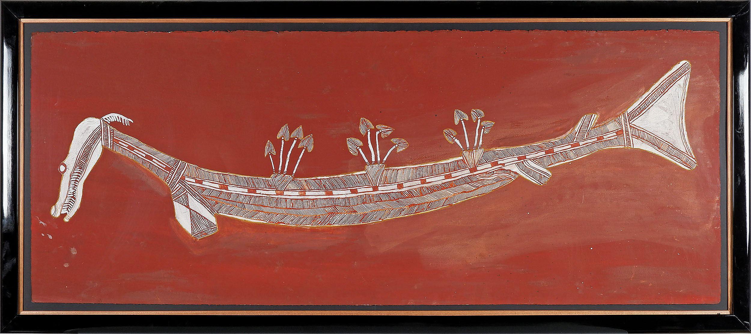 'Lofty Nabardayal Nadjamerrek (1926-2009) Ngalyod Djang The Rainbow Serpent, Natural Earth Pigments on Paper'