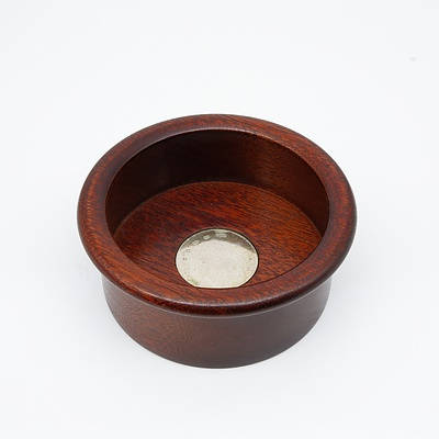 Mahogany Wine Coaster with a Sterling Silver Medallion, London, Whitehill Silver & Plate Co