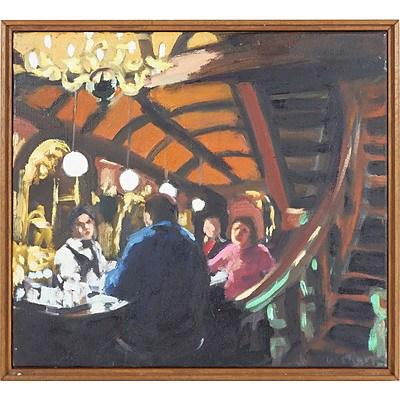 Wendy Sharpe (1960-) Spanish Bar, Oil On Canvas