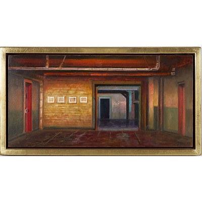 Jerzy W. Michalski (Poland, Australia 1949-) Chelsea Interior I, Ochre On Paper