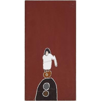 Mabel Juli (c.1933-) Marranyji and Jiyirriny, Ochre on Canvas