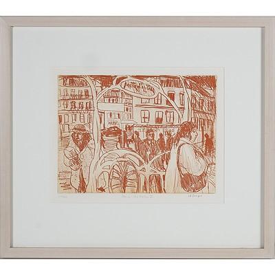 Wendy Sharpe (1960-) Paris - Metro II, Sepia Etching Edition 12/40