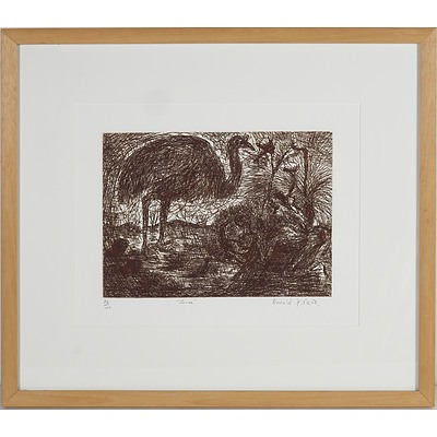 Donald Friend (1915-89) Emu, Etching Edition 38/40