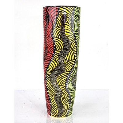 Rene Kulitja (1958-) Uluru, Glazed Ceramic Vessel 1999