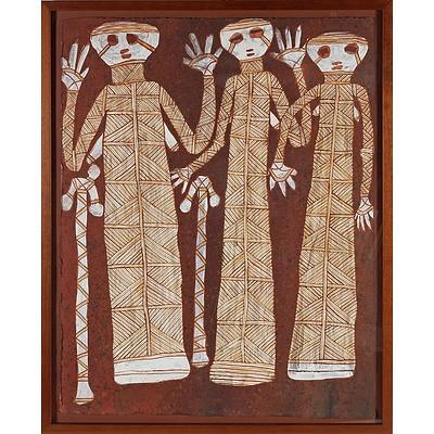 Peter Nabarlambarl (1930-2001) Sugarbag Men, Natural Earth Pigments on Arches Paper