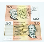 Two Australian $20 Paper Notes, Including Fraser/Cole RXQ355756 and Fraser/Evans  ABF661412