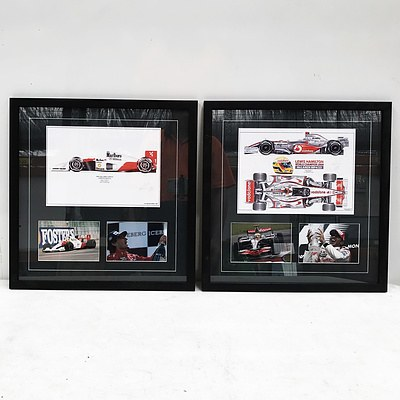 Two Formula 1 Framed Memorabilia