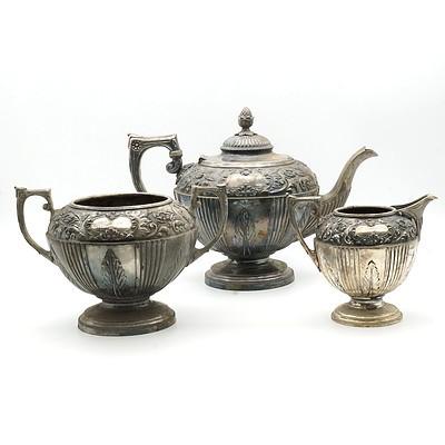 Antique James Dixon and Sons Silver Plate and Repoussé Three Pieces Tea Service