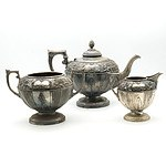 Antique James Dixon and Sons Silver Plate and Repouss? Three Pieces Tea Service