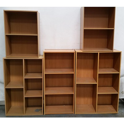 Five Timber Laminate Bookcases