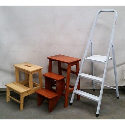 Three Small Step Ladders