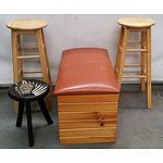 Pine Blanket Box, Two Pine Stools, One Small Stool and Two Clothes Airers