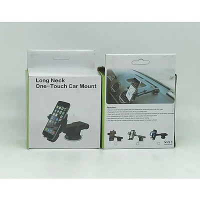 Lot of Brand New Long Neck One Touch Car Mount Phone Holders x10