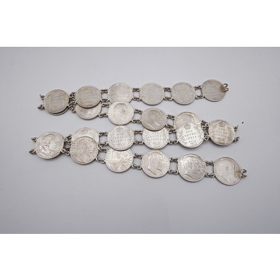 Indian Belt Made from 1 Rupee 0.917 Silver Coins, 316g