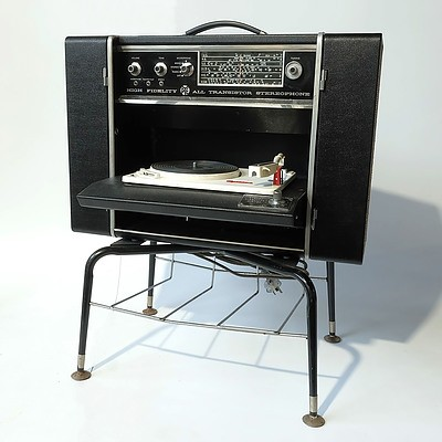 High Fidelity PE All Transistor Stereophone Blackbox with Fold Down Garrard Turntable